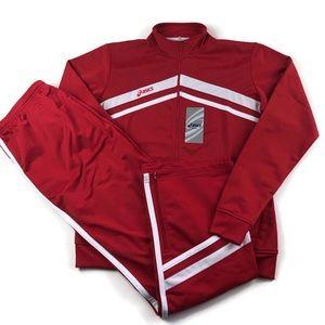 Asics Tracksuit Jacket Pants Set Red 70s Style